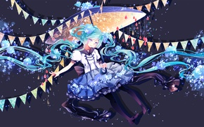 Picture flowers, hatsune miku, art, smile, umbrella, anime, shuuumatsu, girl, vocaloid