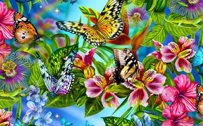 Picture flowers, collage, butterfly, petals, insect