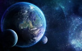 Picture stars, light, nebula, planet, satellites, nebula