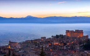 Picture fog, italy, the castle of celano