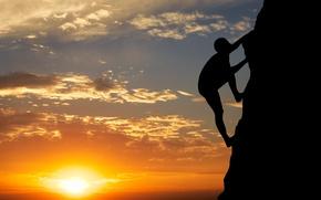 Picture sunset, mountain, mountaineering