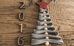 Picture tree, holiday, star, tree, new year, figures, tape, tree, herringbone, beads, date, wooden, 2016, Wallpaper …