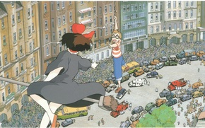 Picture machine, the city, people, street, the crowd, glasses, guy, salvation, MOP, Kiki's delivery service, hayao …