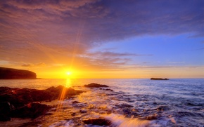 Picture beach, the sun, rays, light, sunset, stones, shore, the evening, surf, Canary Islands, Canary Islands, …