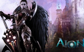 Picture girl, angel, sword, MMORPG, Aoin