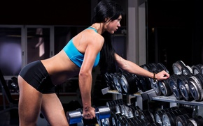 Picture model, muscles, fitness, gym, dumbbells