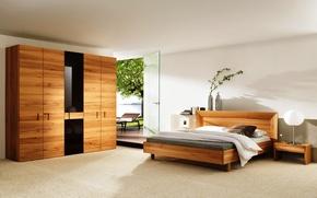 Picture design, room, furniture, bed, interior