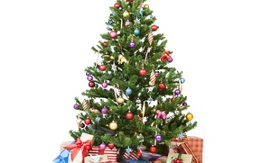 Picture New Year, Balls, Tree, Holidays, Gifts, White Background