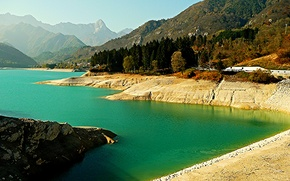 Picture trees, mountains, nature, lake, Italy, Barcis