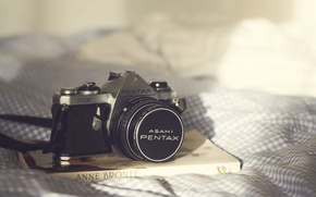 Picture camera, book, bed, bedroom, sunlight, Pentax