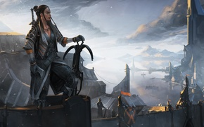 Picture girl, mountain, sword, warrior, fortress, crossbow