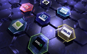 Picture nvidia, AMD, internet, intel, ATI, art, logos, Hi-Tech, Asus, brand