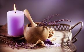 Picture candle, lavender, sea salt