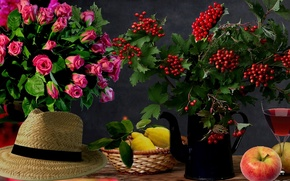 Picture lemon, apples, hat, Roses, still life, Kalina