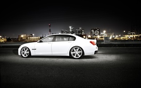 Picture white, night, the city, BMW, BMW, white, skyscrapers, megapolis, 750Li, 7 Series, F02