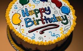 Wallpaper Balloons, Happy Birthday, Cake, Happy Birthday