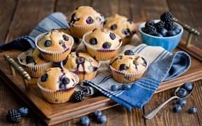 Picture berries, food, blueberries, spoon, dessert, cakes, BlackBerry, sweet, tray, cupcakes, Anna Verdina