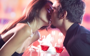 Picture pair, kiss, girl, glasses, guy, wine