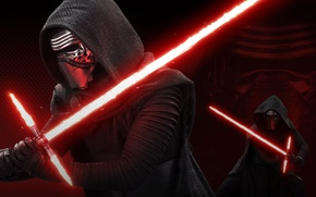 Wallpaper light, power, mask, Star Wars 7, the son of Darth Vader, red lightsaber, Sith lightsaber, ...