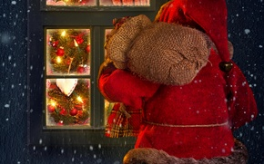 Picture winter, snow, lights, lights, house, holiday, window, house, Santa Claus, winter, snow, window, Merry Christmas, …