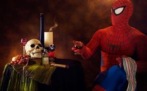 Picture skull, humor, cigar, booze, spider-man