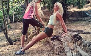 Wallpaper forest, grass, trees, nature, girls, sport, running, body, sport, grass, blonde, legs, forest, legs, trees, ...