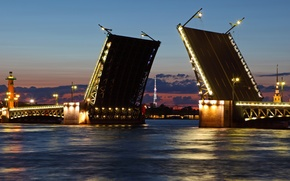Picture night, the city, river, Wallpaper, Peter, Saint Petersburg, white nights, wallpaper, Russia, Northern capital, drawbridge, ...