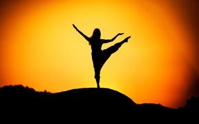 Picture girl, silhouette, yoga, sunrise