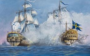 Picture wave, oil, explosions, ships, bursts, battle, art, watercolor, Navy, battle, Russia, the battle, Sweden, sea, ...