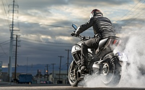 Picture Ducati, Carbon, smoke, muscle, power, cruiser, Diavel, burn, musclebike