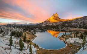Picture mountains, the evening, CA, USA, Yosemite, national Park, state, Cathedral lake