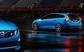 Picture asphalt, blue, lights, volvo, tribune, Volvo, universal, v60, polestar, B60