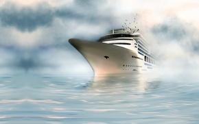 Wallpaper seagulls, the ocean, art, water, ship, sea