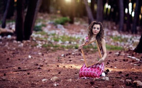 Picture forest, girl, mirror, Alessandro Di Cicco, Empty inside