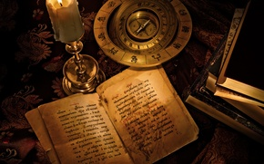 Picture the inscription, books, candle, compass, the signs of the zodiac, Harry Potter