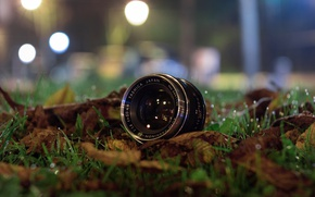 Picture lights, glass, grass, night, leaves, bokeh, drops, reflection, lens, Yashica