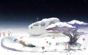 Picture winter, snow, anime, art, girl