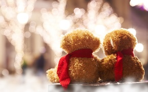 Picture lights, background, widescreen, Wallpaper, mood, toy, toys, blur, scarf, bear, wallpaper, bears, widescreen, background, bokeh, …