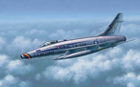 Picture war, art, painting, aviation, jet, North American F-100 Super Sabre