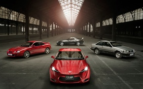 Picture cars, plants, docks, boxes, Toyota, toyota ft 86 sports, sports cars, Toyota, garages, space
