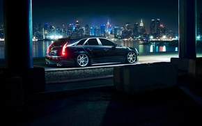 Picture Cadillac, City, CTS, Car, Black, Tuning, Vossen, Wheels, Rear, CV7