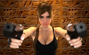 Picture chest, look, girl, hair, guns, braid, lara croft, tomb raider