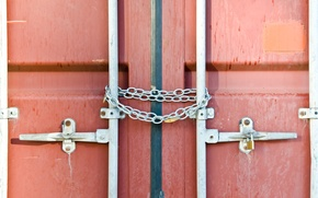 Picture chains, doors, container, lock