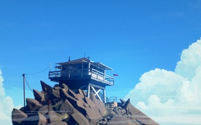 Picture The sky, Clouds, Mountain, Ladder, Stones, Flag, Pipe, Blue, Fire, Tower, Antenna, Exploration, Adventure Game, …