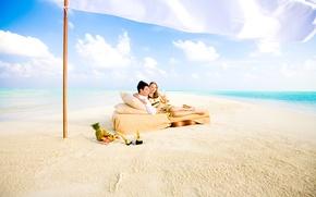 Picture beach, the ocean, romance, pair, picnic, white sand