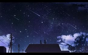 Picture girl, night, home, art, guy, Starfall, The reki