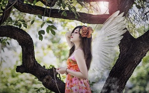 Picture girl, angel, Asian