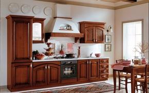 Picture design, interior, kitchen, wooden