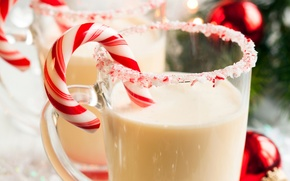Picture winter, New Year, milk, Christmas, sweets, Lollipop, candy, Christmas, striped, holidays, New Year, Christmas