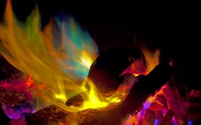 Picture night, fire, flame, the fire, coal